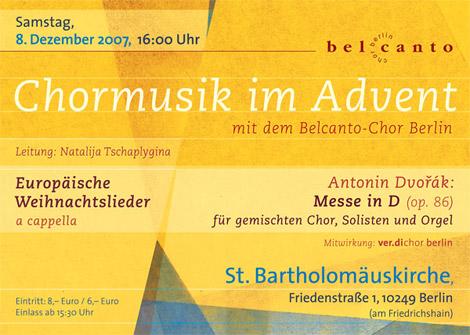 Plakat Belcanto-Chor Adventskonzert