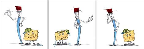 Illustration Sympathiefiguren Schwamm und Pinsel