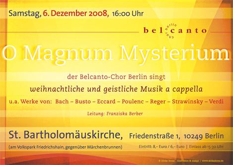 Konzertankuendigung Belcanto-Chor Berlin Dezember 2008