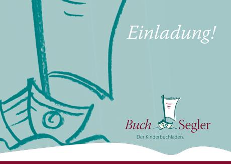 Einladungskarte zum BuchSegler, dem Kinderbuchladen in Pankow