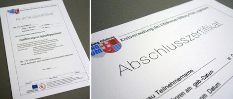 Arbeitsbeispiel Abschlusszertifikat als ausfüllbares PDF-Formular