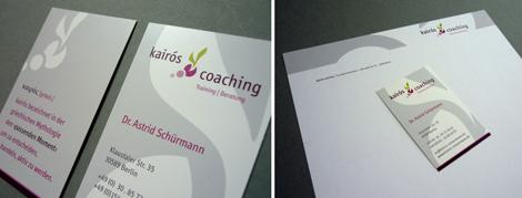 Arbeitsbeispiel Visitenkarte und Briefbogen kairos coaching