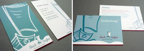 Arbeitsbeispiel Visitenkarte und Postkarte BuchSegler
