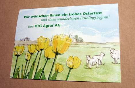 Illustrierte Ostergrusskarte Agrar
