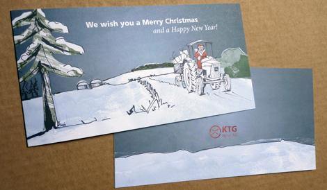 Weihnachtskarte Traktor