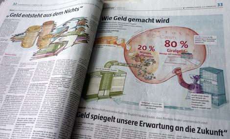 Illustrative Infografik zum Thema Geld fuer Sonntaz 2012