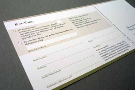 Arbeitsbeispiel Formular Bestellkarte Zeitschrift