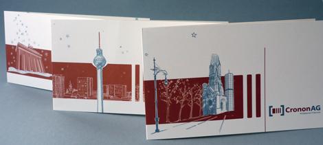 Arbeitsbeispiel Weihnachtskarten für cronon mit Berlin-Motiven