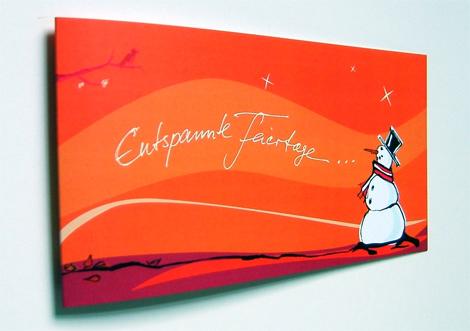 Weihnachtsgrußkarte Entspannte Feiertage mit Schneemann