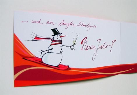 Weihnachtsgrußkarte_innen Schneemann auf Snowboard mit Sektglas