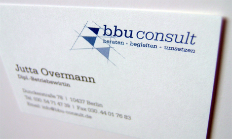 Arbeitsbeispiel Logo Visitenkarte bbu-consult