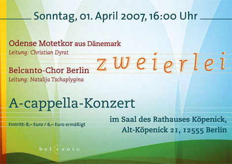 Werbepostkarte Belcanto-Chor-Konzert April 2007